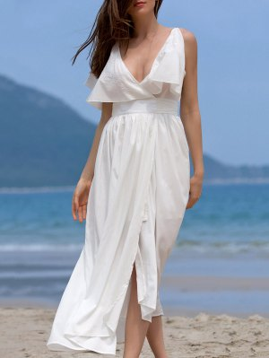High Slit Flounce Ruffles Plunging Neck Sleeveless Dress - White