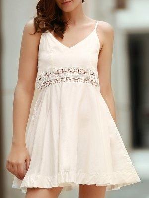 Zippered Hollow Out Spaghetti Straps Sleeveless Dress - White