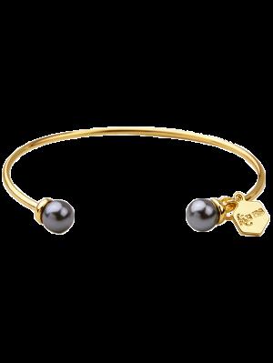 Faux Pearl Pentagon Cuff Bracelet - Gray