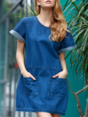 Hemming Double Pockets Round Neck Short Sleeve Denim Dress - Blue