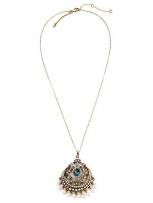 Retro Round Hollow Out Pendant Necklace - Golden