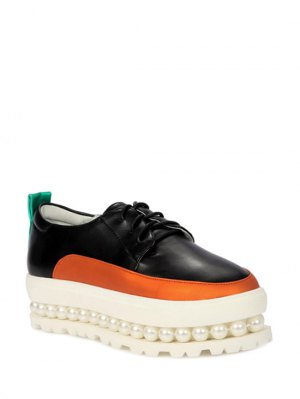 Faux Pearl Color Block Platform Shoes - Black