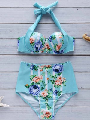 Floral Halter High Waist Bikini Set