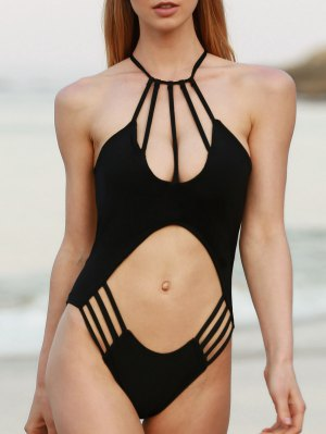 Black Hollow Spaghetti Straps One-Piece Swimwear - Black