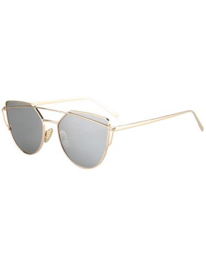 Metal Bar Golden Frame Pilot Sunglasses - Silver