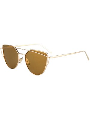 Metal Bar Golden Frame Pilot Sunglasses - Brown