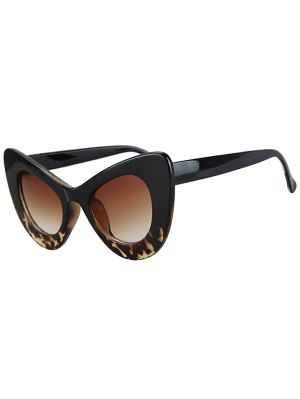 Black Match Leopard Butterfly Shape Sunglasses - Black