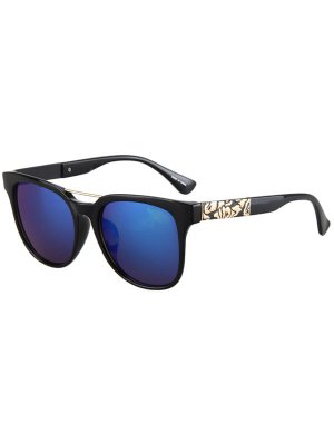 Flower Shape Bulge Black Frame Sunglasses - Deep Blue