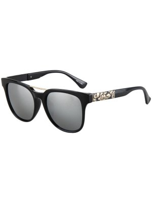 Flower Shape Bulge Black Frame Sunglasses - Silver