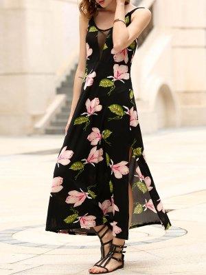 Floral Print Side Vent Prom Dress - Black