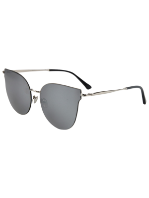 Street Fashion Silver-Rim Cat Eye Sunglasses - Silver Gray