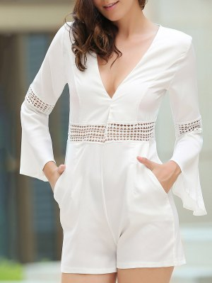 Cut Out Lace Splicing Plunging Neck Flare Sleeve Romper - White