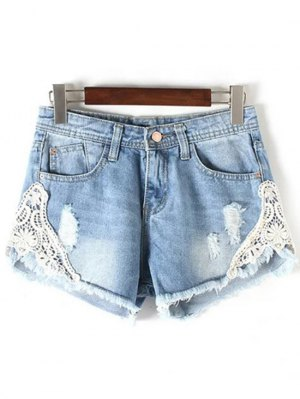 Lace Detail Frayed Denim Shorts - Light Blue