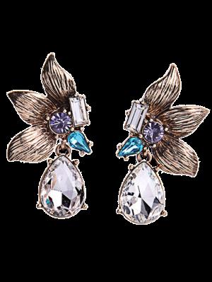 Rhinestone Symmetric Flower Earrings - Golden