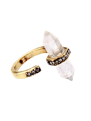 Rhinestone Etched Natural Stone Ring - Golden