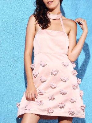 Pink Stereo Flower Halter Semi Formal Dress - Pink