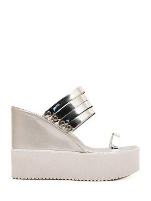 Toe Ring Platform Wedge Heel Slippers - Silver