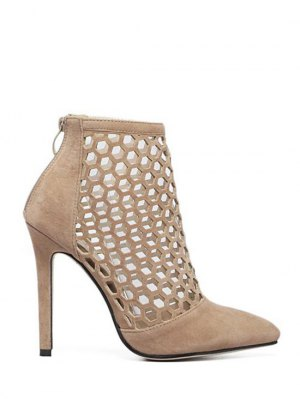 Openwork Pointed Toe Stiletto Heel Pumps - Apricot