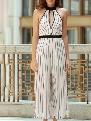 Striped Backless Cut Out Halter Sleeveless Jumpsuit - White