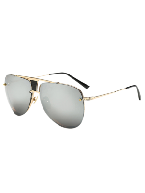Trapezoid Hollow Out Pilot Mirrored Sunglasses - Golden