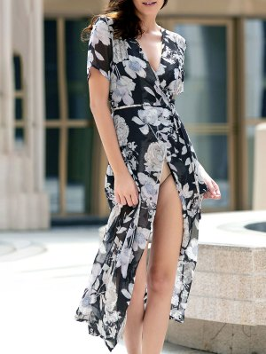 Flower Print High Slit Plunging Neckline Dress - Black