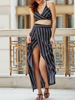 Striped Backless Spaghetti Straps Crop Top - Black