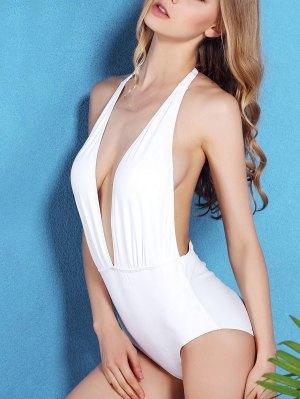 Solid Color Open Back Halter One-Piece Swimwear - White