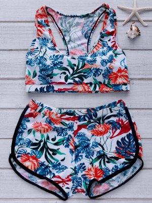 Printed Crop Top And Boyshorts Bikini - Verde