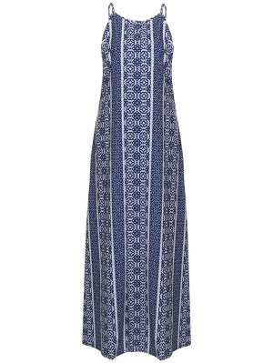 Spaghetti Strap Sleeveless Print Maxi Dress - Blue And White