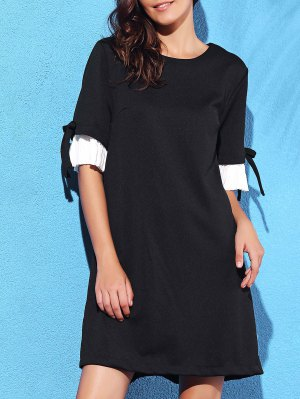 Pleated Spliced Round Neck Half Sleeve Dress - Black