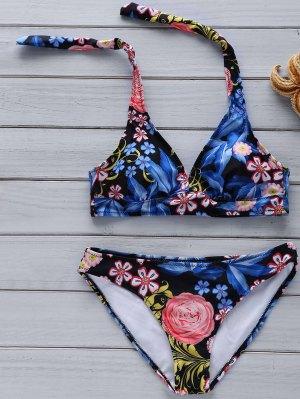 Floral Print Halter Bikini Set - Cadetblue