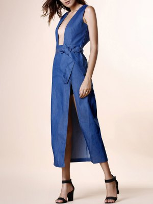 High Slit Plunging Neck Sleeveless Denim Dress - Blue