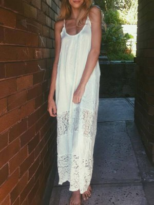 Spaghetti Strap Floral Pattern Lace Maxi Dress - White