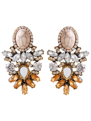 Alloy Faux Crystal Rhinestone Oval Earrings - Brown