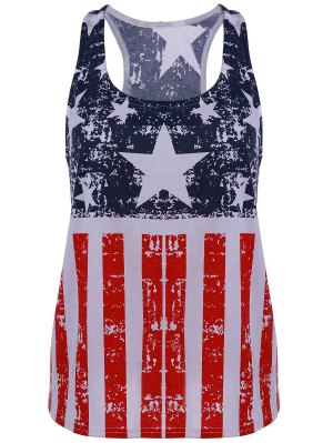 Scoop Neck American Flag Print Tank Top - Blue And Red