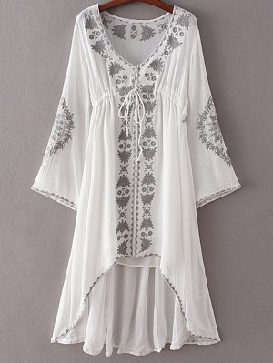 High-Low Hem V-Neck Long Sleeve Embroidery Dress - White