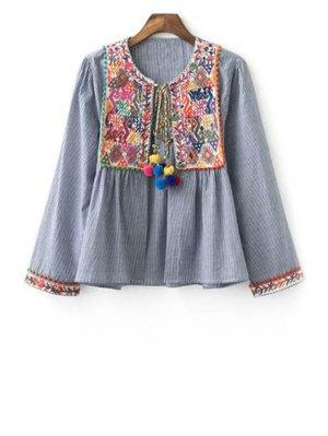 Ethnic Embroidery Round Neck Long Sleeve Coat - Gray