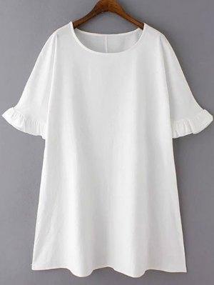 Bell Sleeve A-Line Ruffle Dress - White