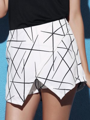 Striped Irregular Hem High Waist Shorts - White