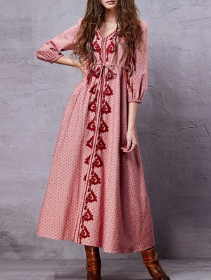 Embroidery V Neck 3/4 Sleeve A Line Dress - Pink