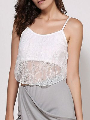 Lace Spaghetti Strap Crop Top - White