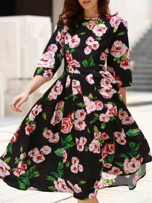 3/4 Sleeve Floral Print Midi Dress - Black
