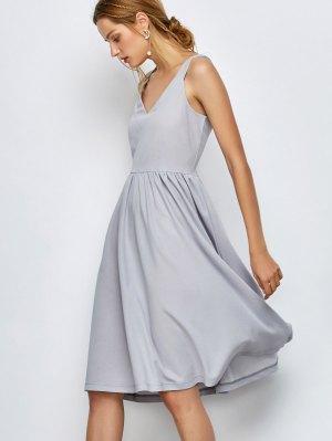 Knee Length A Line Dress - Gray