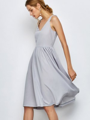 Knee Length A Line Dress - Gray