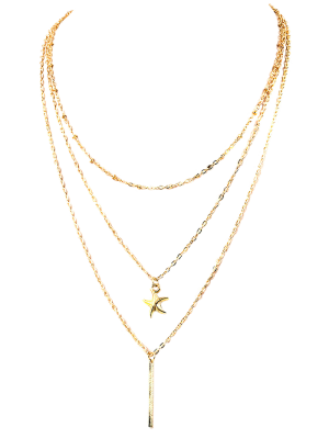 Starfish Layered Pendant Necklace - Golden