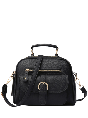 Buckle PU Leather Zippers Crossbody Bag - Black