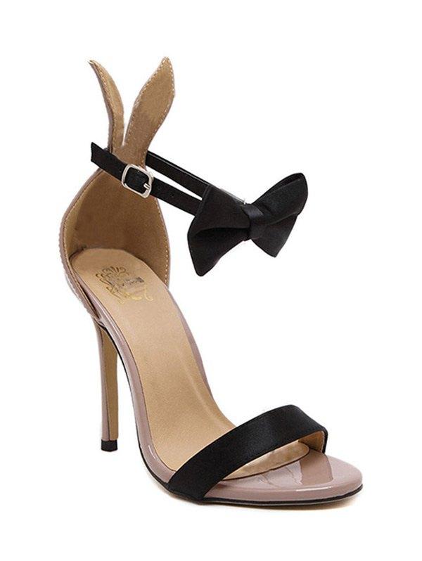 Bow Bunny Ear Stiletto Heel Sandals - NUDE 35