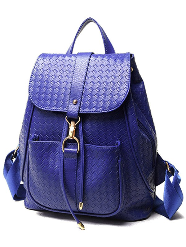 Weaving Solid Color PU Leather Satchel - BLUE