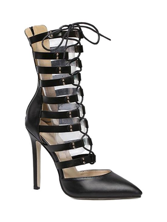 Pointed Toe Hollow Out Lace-Up Pumps