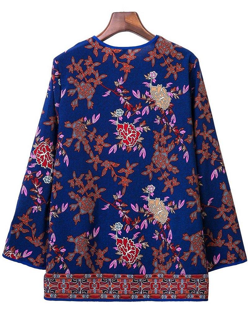 Printed Long Sleeve V-Neck Blouse - DEEP BLUE L